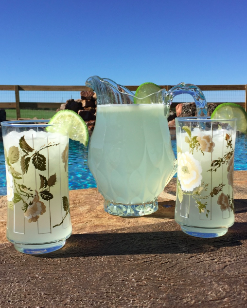 My Farmtastic Life Recipe - Limeade in a vintage pitcher and glasses